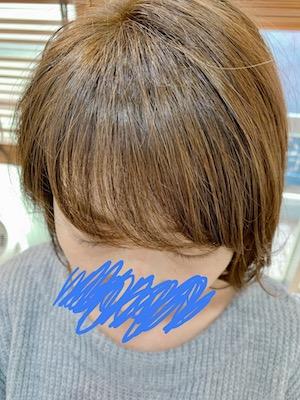 前髪パーマで横に流す